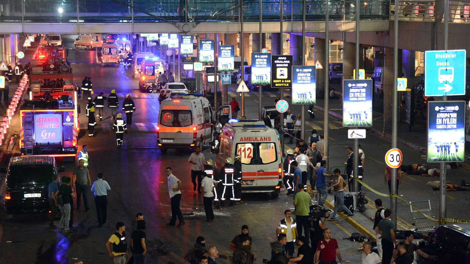 Turkish rescue services gather outside Istanbul's Ataturk airport, Tuesday, June 28, 2016. Two explosions have rocked Istanbul's Ataturk airport, killing several people and wounding others, Turkey's justice minister and another official said Tuesday. A Turkish official says two attackers have blown themselves up at the airport after police fired at them. The official said the attackers detonated the explosives at the entrance of the international terminal before entering the x-ray security check.