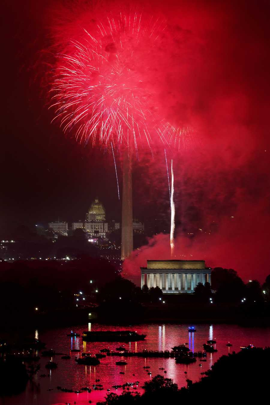 Red fireworks are caused by strontium carbonate.