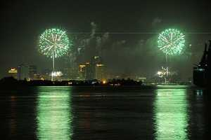 Green fireworks are caused by barium chloride.