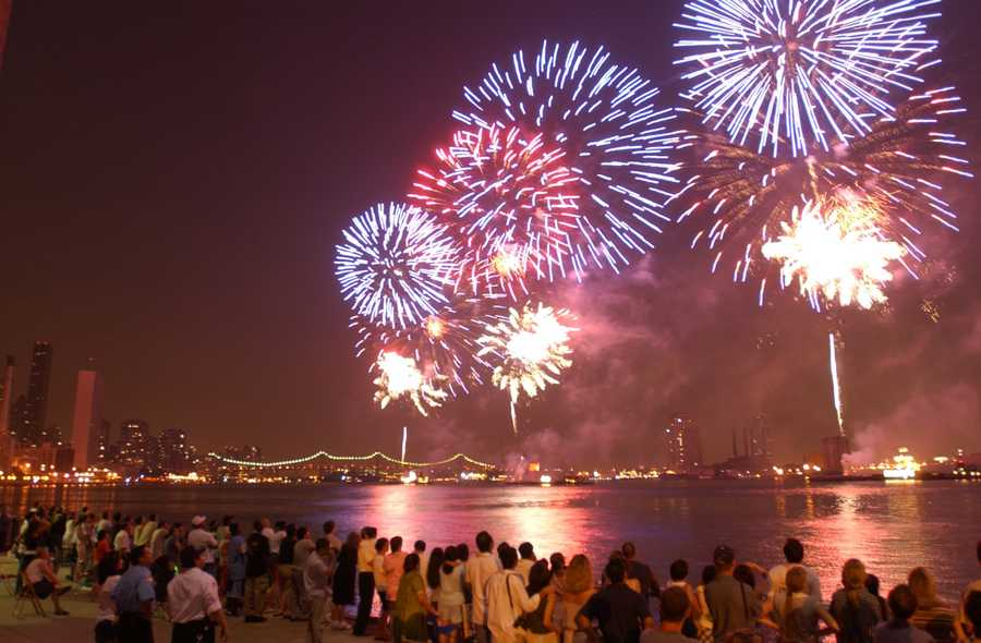Blue fireworks are caused by copper chloride.