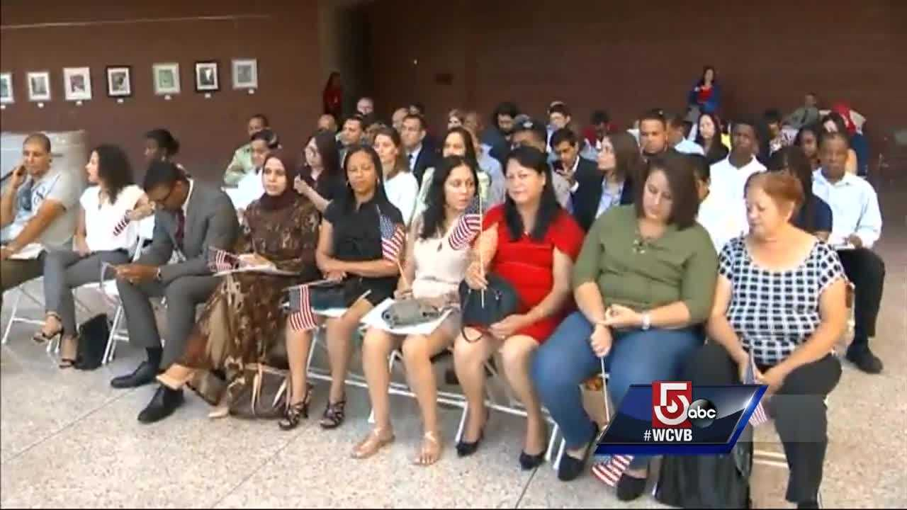 50 people took the oath and became U.S. citizens on the Fourth of July.