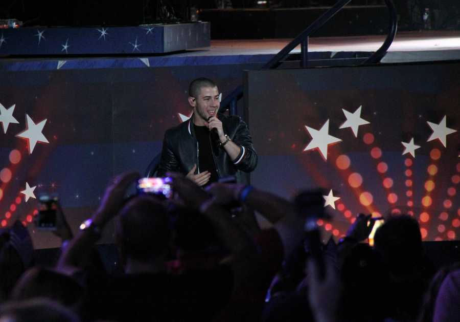 Nick Jonas delighted fans by getting off the stage and heading down to the crowd.