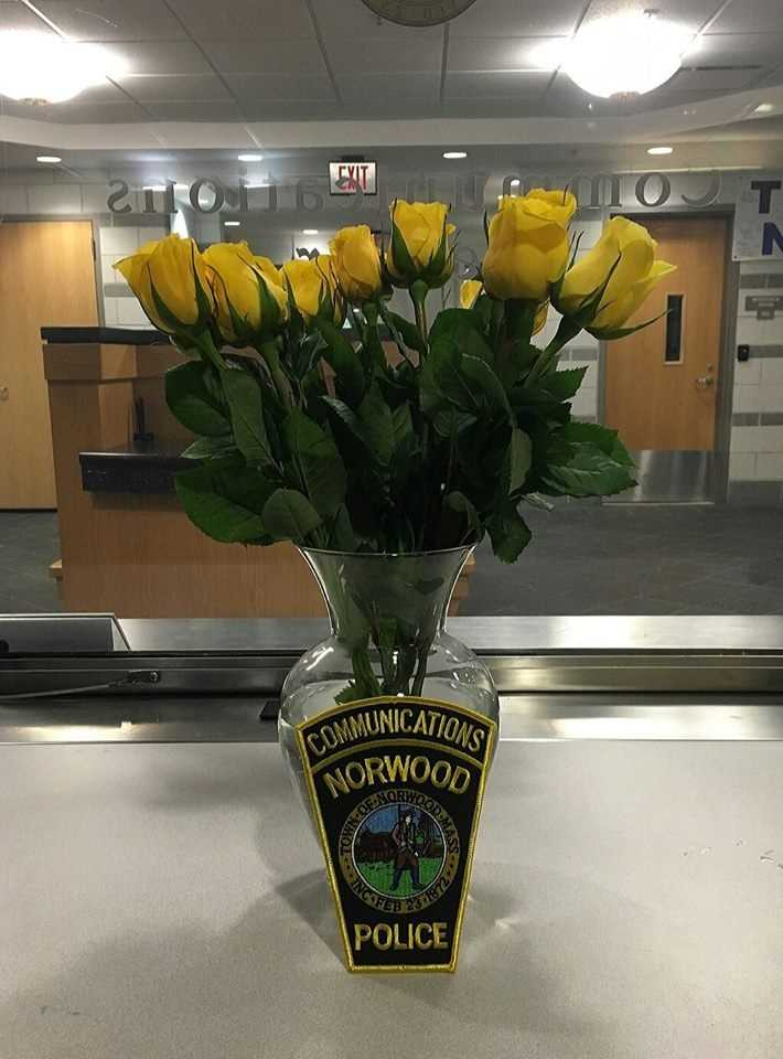 """""""From food (courtesy of Norwood Firefighters Local 1631) and desserts to flowers from our residents. We have had many people approach us out on the street and offer a simple """"thank you"""" as well,"""" Norwood Police said."""