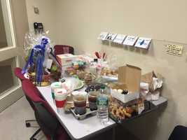 """""""Thank you for the outpouring of support. Pizzas, cookies, hand written notes all being dropped off at the station,"""" Plymouth police."""