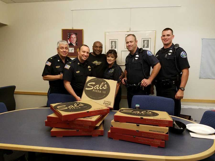 """Sal Lupoli called with condolences today. He also sent over several pizzas for our troops. Thank you Sal!"""" Andover police."""