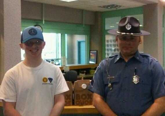 """""""A show of support 4 law enfrcmnt w/ heart felt delivery of Dunkin from former '14 student Tpr. Jackson Dwyer,"""" Mass State Police."""
