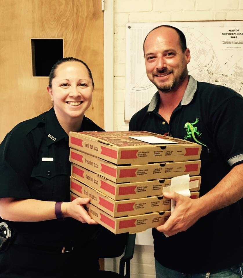 A pizza delivery to Methuen officers.