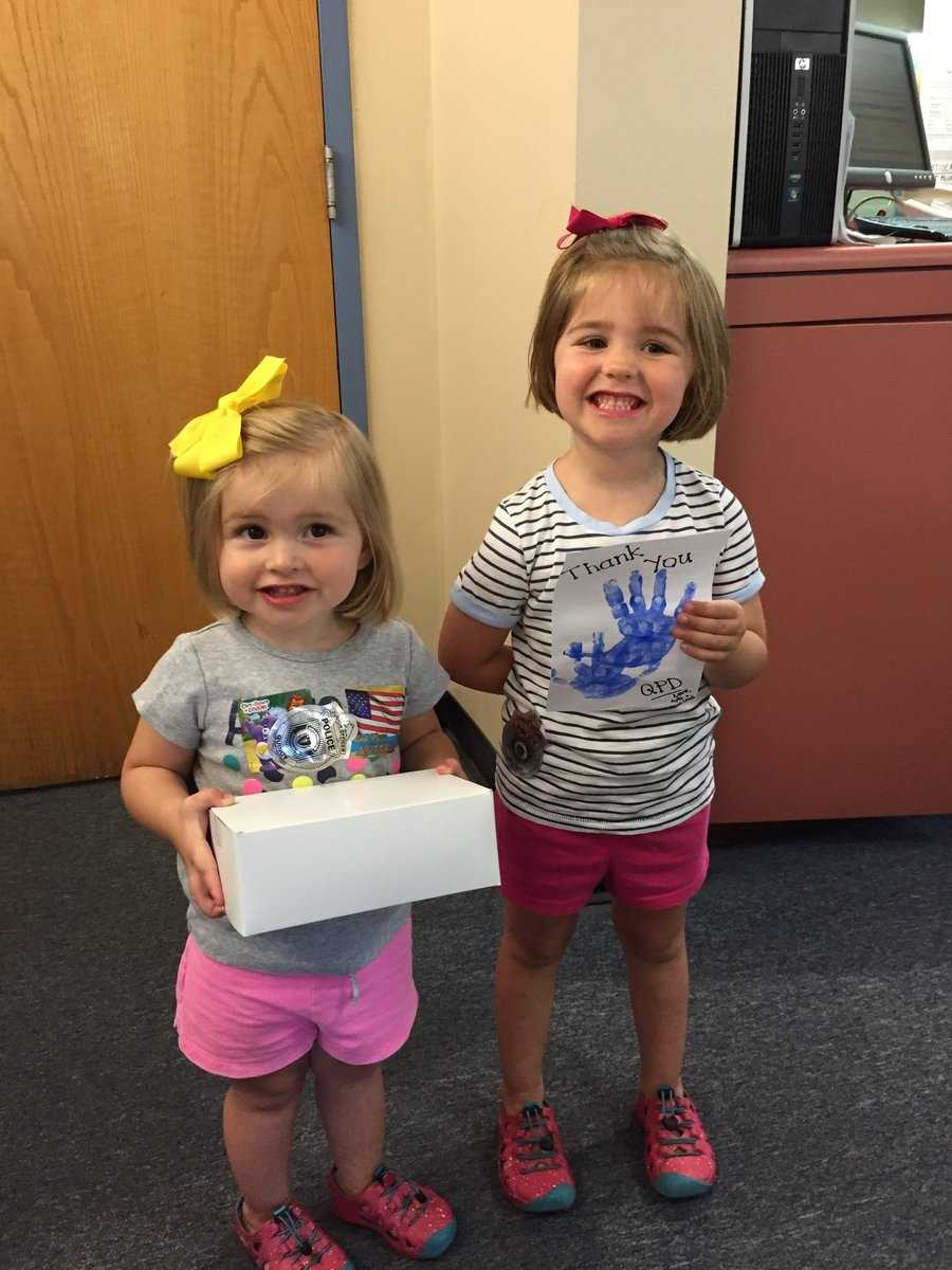 """""""Thank you Leah and Ayla for stopping by with some goodies for us today. Your smiles definitely brightened our day!,"""" Quincy Police."""