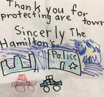 """""""Citizens of all ages continue to stop by with food and cards, but we have to share ones like this,"""" Hingham Police said."""