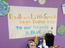 """""""Dedham officers enjoyed a great meet and greet with the students at Little Sprouts this AM. Thanks for the cards!,"""" Dedham police."""