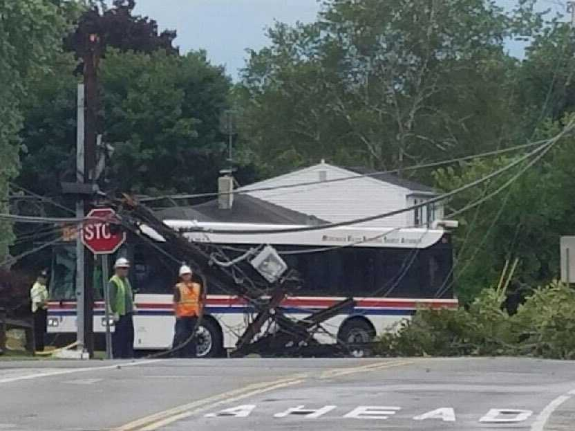 Plaistow, NH: Bus trapped under wires in Plaistow after storms moved through. Everyone OK
