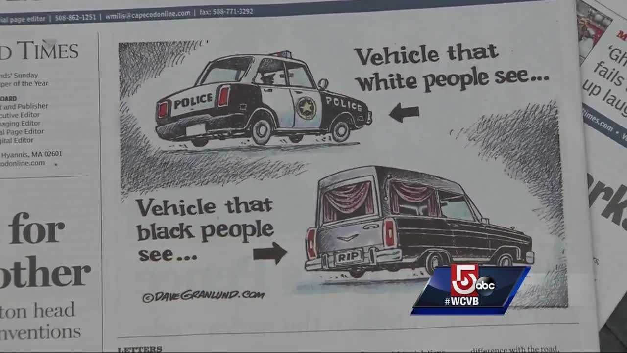 This cartoon printed in the opinions section of a newspaper is not being received well by police and the Cape Cod community.