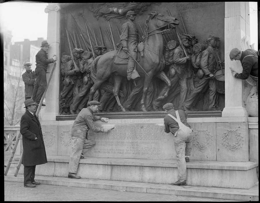 Robert Gould Shaw memorial is cleaned, Feb. 12, 1934.