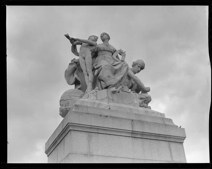 Daniel Chester French's statue used to be on the old Post Office in Boston but was moved to Franklin Park. 1937 (approx)