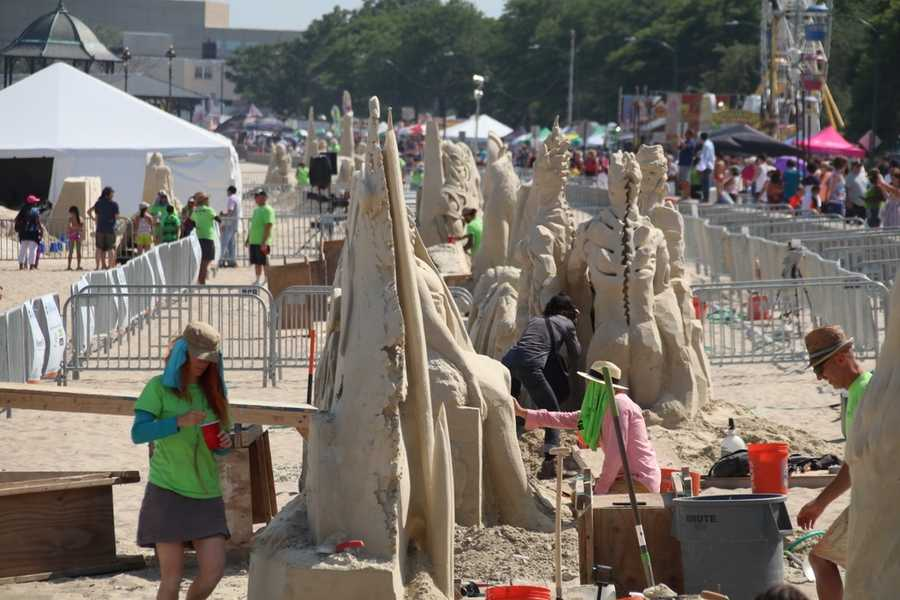Sand sculptors were busy putting the finishing touches in this year's Revere Beach National Sand Sculpting Festival & Competition.