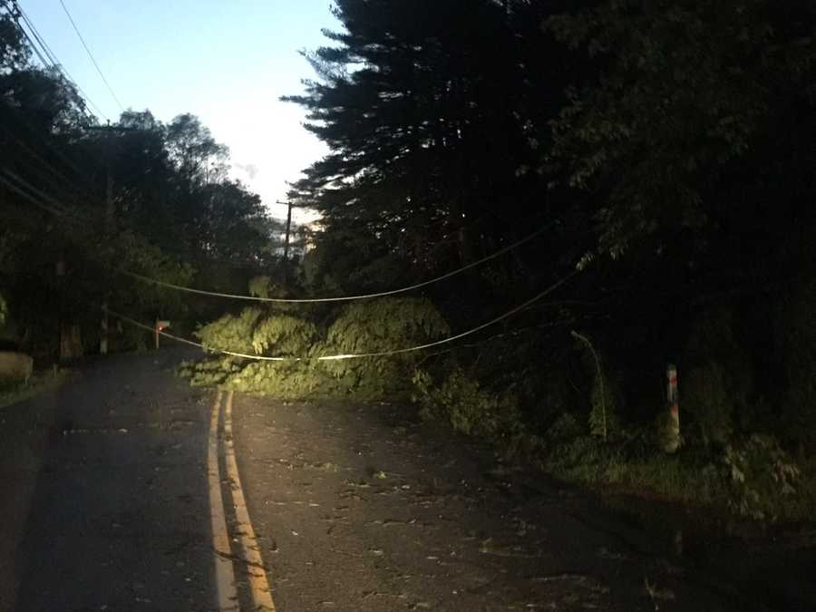 Powerful storms moved though MetroWest and the Boston area Friday night.