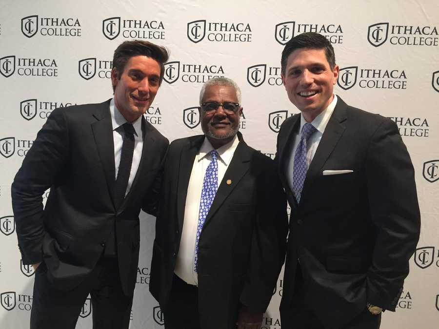 ABC's David Muir is also an Ithaca graduate. Here, Ben and David are pictured with Ithaca professor Gossa Tsegaye.