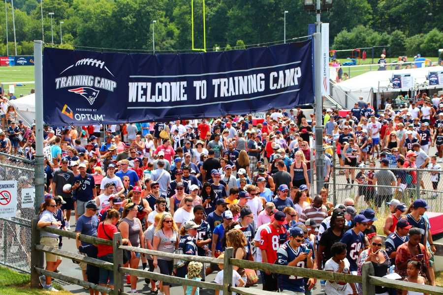Thousands of fans attended the first day of the 2016 New England Patriots training camp in Foxborough.