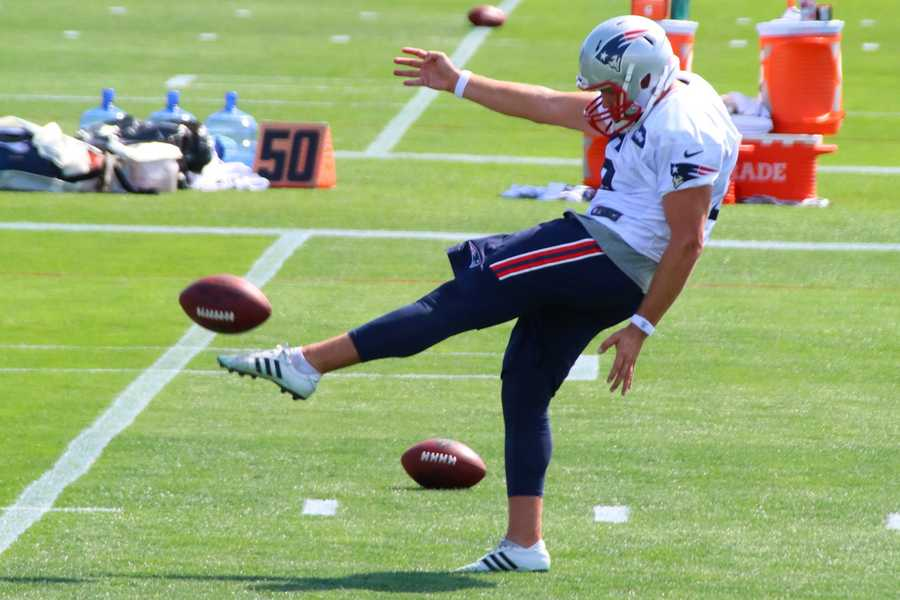 Patriots punter Ryan Allen practicing kicks.