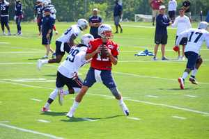 New England Patriots quarterback Tom Brady in practice.  He will be able to practice with the team until the week prior to the regular season.