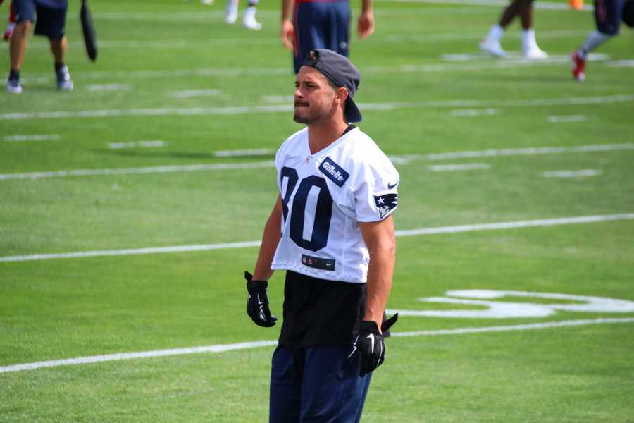 Patriots wide receiver Danny Amendola watches his teammates. He is being held from practice as he recovers from off-season surgery.