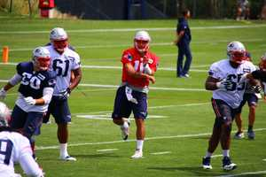 Patriots quarterback Jimmy Garoppolo practicing with the team on day 1 of training camp.  He's expected to start the first four games of the season.