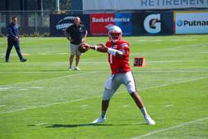 Patriots rookie quarterback Jacoby Brissett tosses a pass during practice drills Saturday.