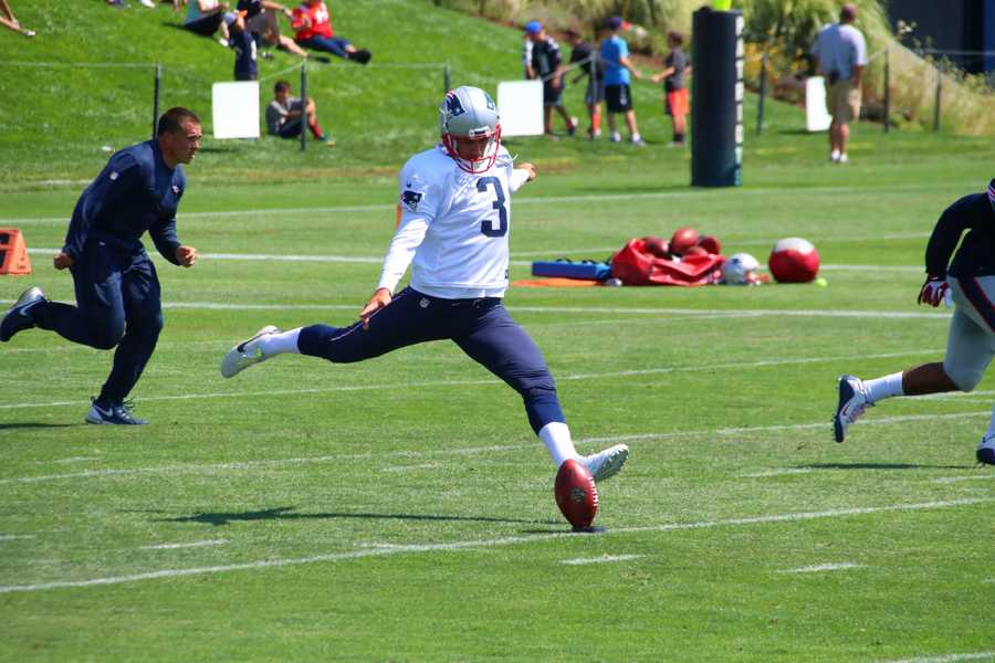 Patriots kicker Stephen Gostkowski kicks off during training camp on Saturday.