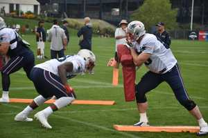 Patriots tight-ends during training camp drills in Foxborough on Sunday, July 31.