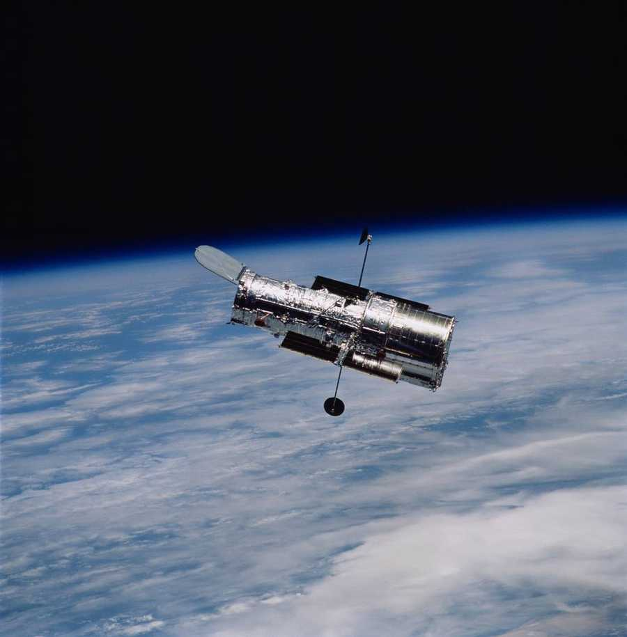 NASA's Hubble Space Telescope was launched April 24, 1990, on the space shuttle Discovery from Kennedy Space Center in Florida.