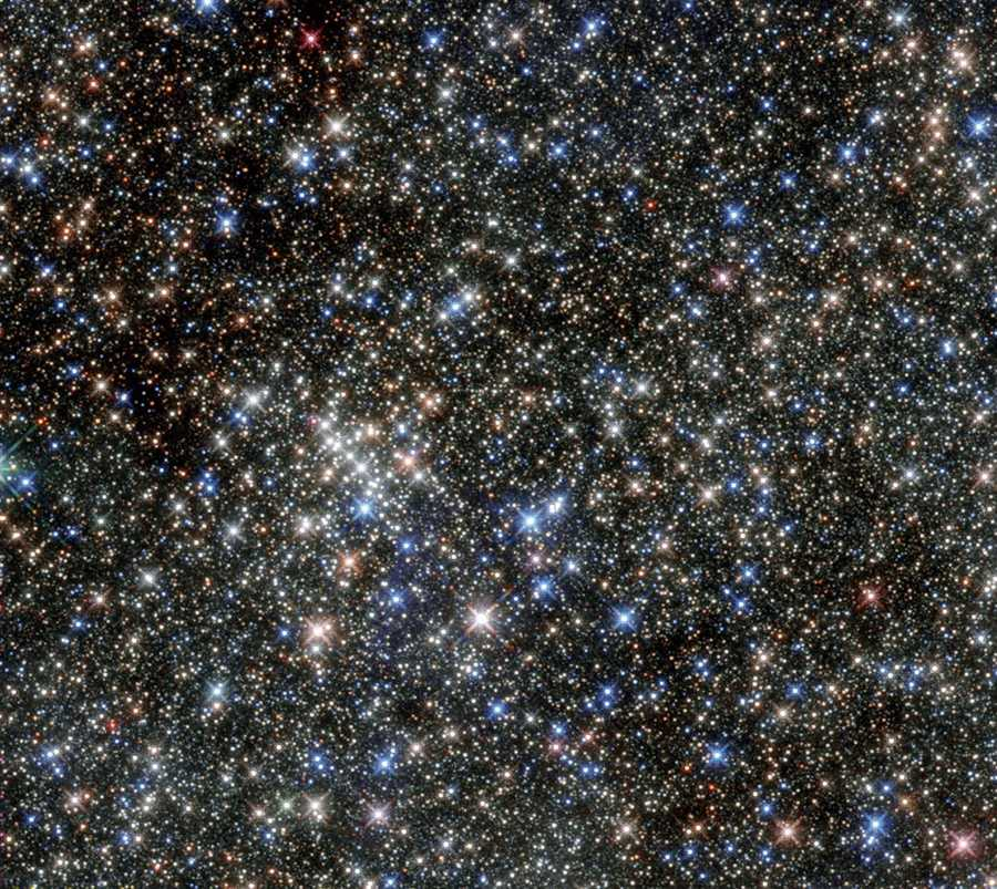 Hubble's photograph of the Quintuplet Cluster, which earned its name due to five bright stars but is home to hundreds more.