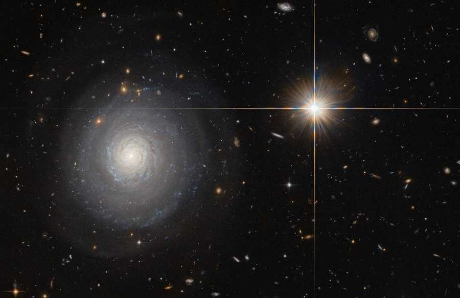 Hubble's camera reveals a starburst galaxy about 300 million light-years away.