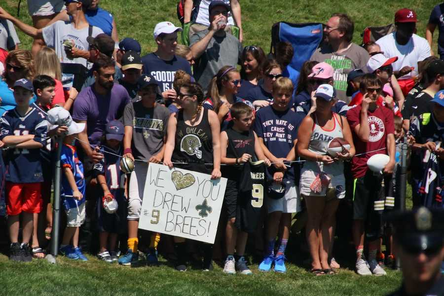 Patriots fans were mixed in with a few Saints fans at training camp practice Tuesday.