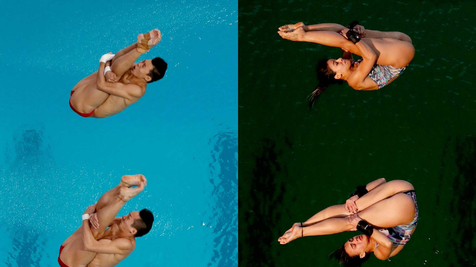 In this combination of file photos, China's Lin Yue, bottom left, and Chen Aisen compete during the men's synchronized 10-meter platform diving final on Monday, Aug. 8, 2016, and Brazil's Ingrid Oliveira and Giovanna Pedroso, at right, compete during the women's synchronized 10-meter platform diving final on Tuesday, Aug. 9, in the Maria Lenk Aquatic Center at the 2016 Summer Olympics in Rio de Janeiro, Brazil. The water at the Maria Lenk Aquatic Center was greener Tuesday during the women's synchronized diving competition 10-meter platform final than one day earlier during the men's competition. Venue managers did not immediately comment on the water.