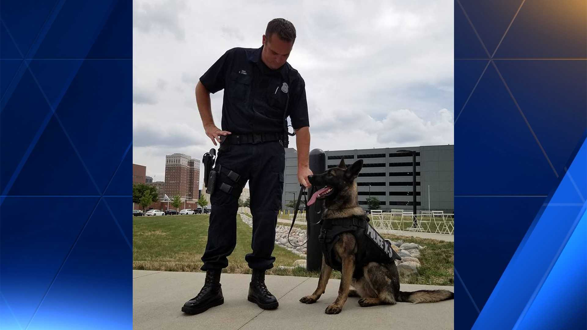 K-9 Argo with his handler Officer Eric O'Neil.