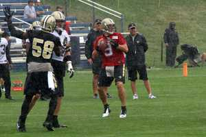 Saints quarterback Drew Brees during the second day of the joint team practice.