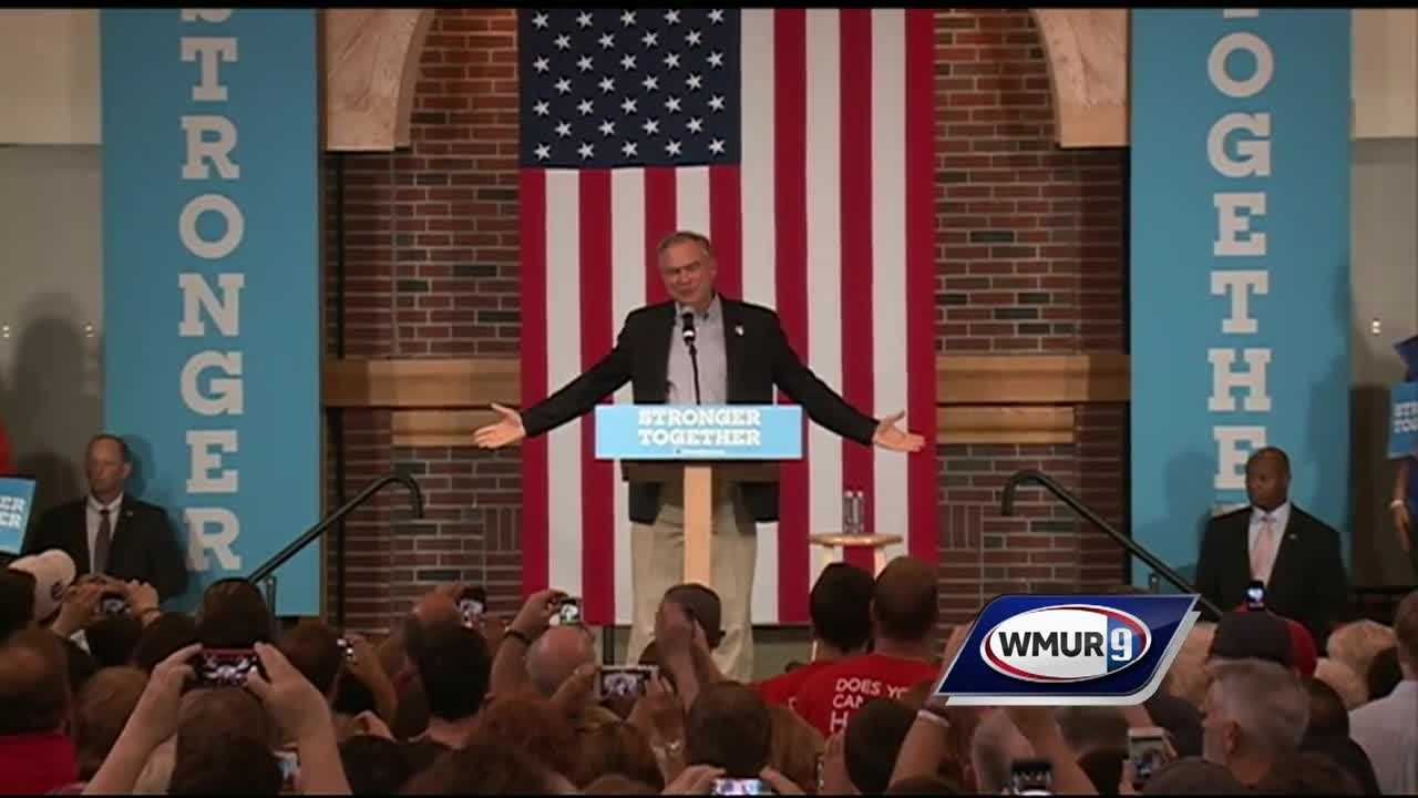 Tim Kaine was in New Hampshire today for a rally at St. Anselm College and to meet with the parents of James Foley.