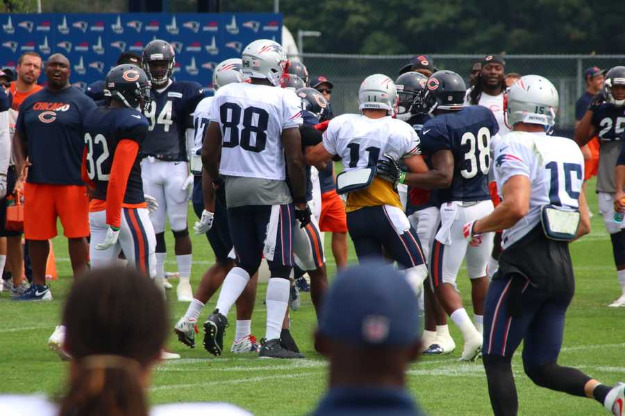 A scuffle between Patriots offensive players and Bears defensive players during practice Tuesday.