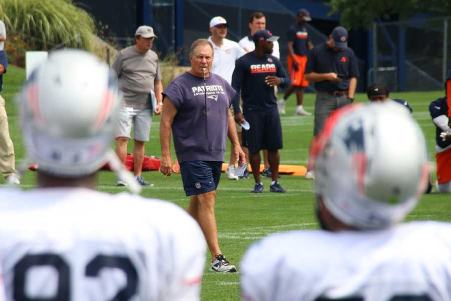 Patriots head coach watches the team moments after the scuffle at practice.