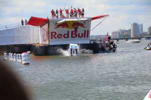 They are then launched off a platform into the water.