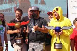 Team FliteRiot celebrates during the podium ceremony at Red Bull Flugtag in Boston.