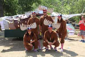 Team Live Free or Fly from Bow, New Hampshire poses for a portrait at Red Bull Flugtag in Boston.