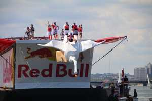 Team BostonPours Swan Dive Team competes at Red Bull Flugtag.