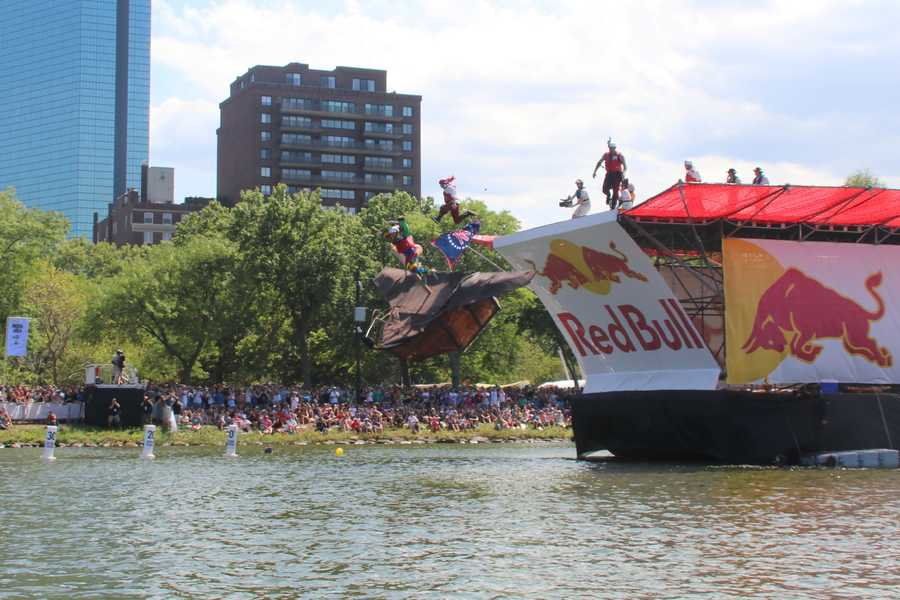 Team Barstool Pirates competes at Red Bull Flugtag in Boston.