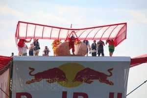 Team Flying Franks prepares to launch at the Red Bull Flugtag in Boston.