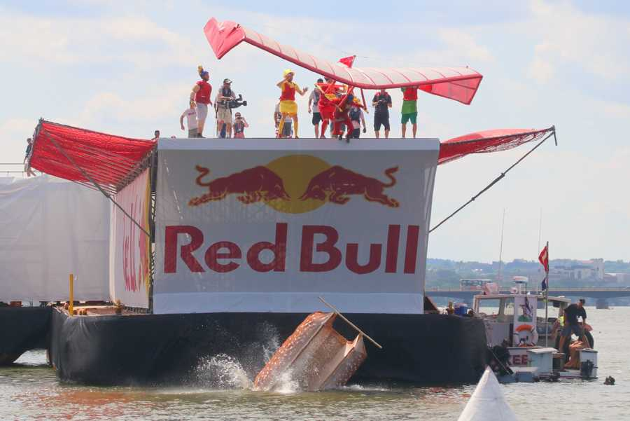 The hot dog bun of Team Flying Franks quickly crashes into the river at the Red Bull Flugtag in Boston.