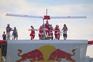 Team Papi prepares to launch at the Red Bull Flugtag in Boston.