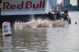 Team Papi crashes into the river at the Red Bull Flugtag in Boston.