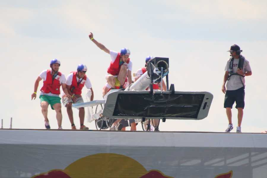 The Flying Selfie prepares to launch at the Red Bull Flugtag in Boston.