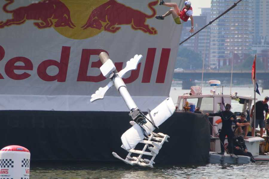 The Flying Selfie about to crash into the Charles River at the Red Bull Flugtag in Boston.